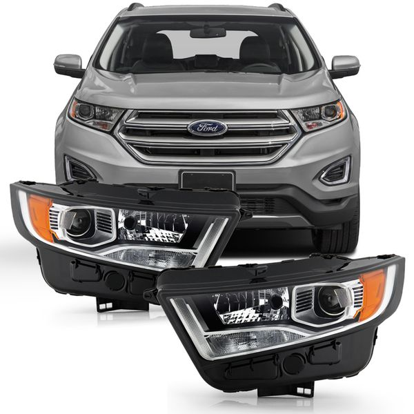 2015-2018 Ford Edge [HID Model] Factory-Style Chrome Housing Projector Headlights - Pair