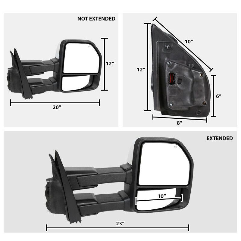 Power//Heated LED Signal//Puddle//Auxiliary Light Towing Mirrors For 2015-2018 F150