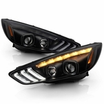 2015-2018 Ford Focus Halogen LED DRL Sequential Projector Headlights - Black