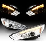 2015-2018 Ford Focus Halogen LED DRL Sequential Projector Headlights - Chrome