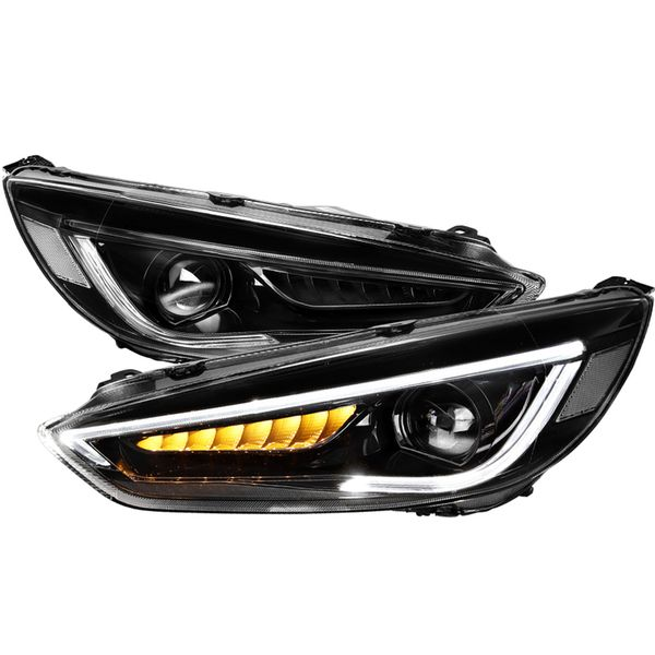 2015-2018 Ford Focus LED Sequential Turn Signal Projector Headlights Black