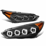 2015-2018 Ford Focus Seqential Halo Projector Headlights - Black / Amber