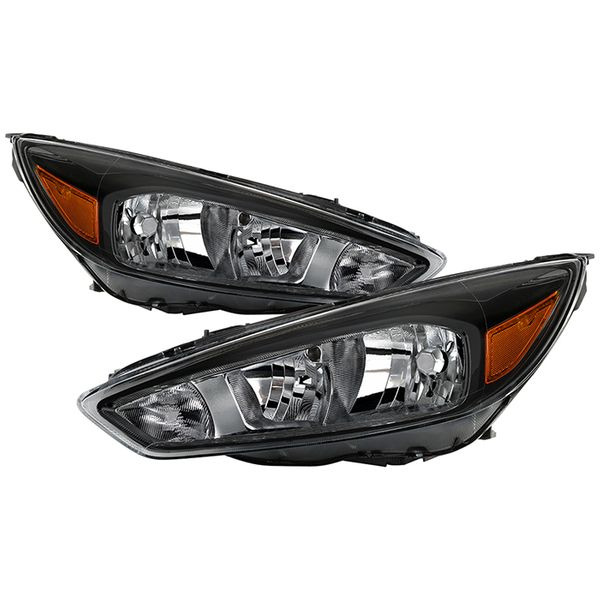 2015-2018 Ford Focus [without DRL] Factory-Style Headlights - Black