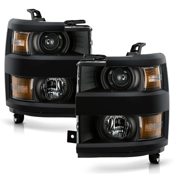 2015-2019 Chevy Silverado 2500HD 3500 HD Chrome Projector Headlights - Black