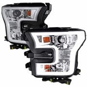2015-2017 Ford F-150 LED DRL Projector Headlights - Chrome