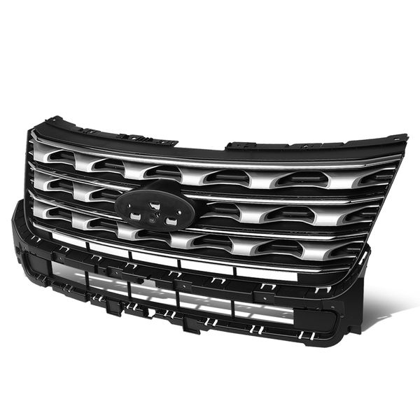 2016-2017 Ford Explorer OE Style Glossy Black Grey Front Bumper Grill Grille