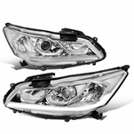 2016-2017 Honda Accord EX SE Led Drl Factory Style Replacement Headlights - Chrome / Clear