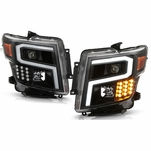2016-2019 Nissan Titan / XD [Halogen Model] LED DRL Projector Headlights - Black