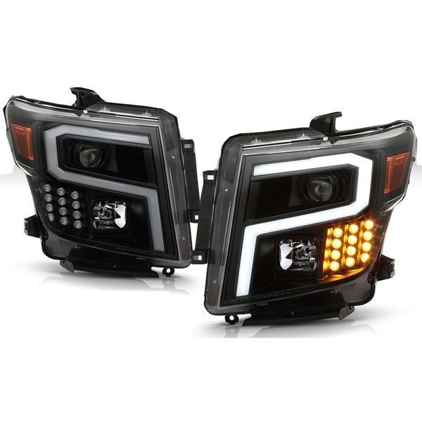 2016-2019 Nissan Titan / XD [Halogen Model] LED DRL Projector Headlights - Black / Smoked Lens