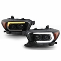 2016-2019 Toyota Tacoma TRD Black Smoked LED DRL Sequential Projector Headlights