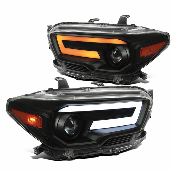 2016-2021 Toyota Tacoma Black Smoked Projector Headlights LED Sequential Signal / DRL