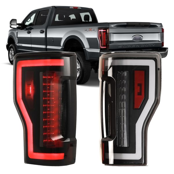 2017-2019 Ford F250 Optic-Style LED Tail Lights - Black / Smoked