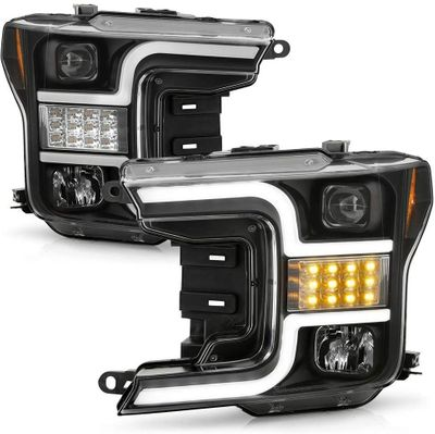 2018-2020 Ford F-150 Sequential Signal LED DRL Tube Projector Headlights- Black