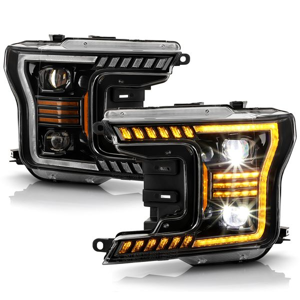 2018-2020 Ford F150 LED Amber Tube Sequential Signal LED Projector Headlights