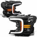 2018-2021 Ford F150 LED DRL Headlights [Sequential Signal] - Black Amber
