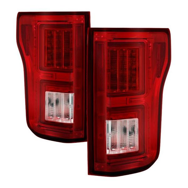 2018+ Ford F150 Pickup LED Tube Tail Lights - Red Clear