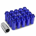 20Pcs 50MM Blue Aluminum 25MM OD M12X1.5 Conical Open-End Lug Nuts+Adapter