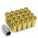 20Pcs 50MM Gold Aluminum 25MM OD M12X1.5 Conical Open-End Lug Nuts+Adapter