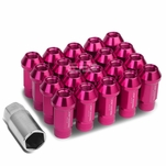 20Pcs 50MM Pink Aluminum 25MM OD M12X1.5 Conical Open-End Lug Nuts+Adapter