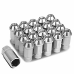 20Pcs 50MM Silver Aluminum 25MM OD M12X1.5 Conical Open-End Lug Nuts+Adapter