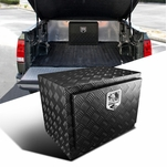 "24"" Heavy Duty Black Textured Aluminum Tool Box Trailer Storage Trunk Under Bed"