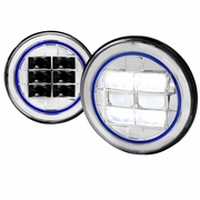 "2X 7"" Round Cree LED Blue Rim Strip Projector Headlights"