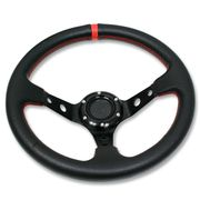 "320MM 3"" DEEP DISH 6 HOLE BLACK SPORT STEERING WHEEL RED STITCHING + HORN BUTTON"