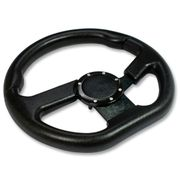 320Mm 6-Hole Aluminum Racing Steering Wheel Full Black Pvc Leather Horn Button