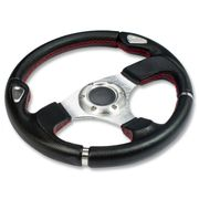 320MM 6-HOLE RACING STEERING WHEEL FULL BLACK PVC LEATHER RED STITCH SILVER TRIM