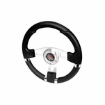 340mm Racing Sports JDM Style Black Stitch Leather Steering Wheel & Horn