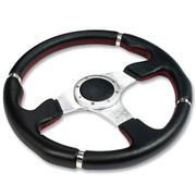 350MM 6-HOLE RACING STEERING WHEEL BLACK PVC LEATHER RED STITCH SILVER TRIM + HORN