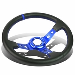 350mm Blue 6-Bolt Spoke Blue Stitched PVC Leather Racing Steering Wheel