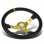 350mm Gold 6-Bolt Spoke Gold Stitched PVC Leather Racing Steering Wheel