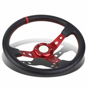 350mm Red 6-Bolt Spoke Red Stitched PVC Leather Racing Steering Wheel