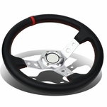 350mm Silver 6-Bolt Spoke Red Stitched PVC Leather Racing Steering Wheel