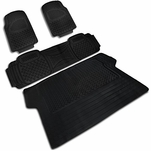 4-Pieces Black Heavy Duty All Weather 3D Rubber FLoor Mat [Front+Rear+Trunk]