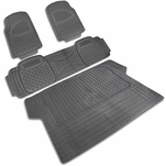 4-Pieces Grey Heavy Duty All Weather 3D Rubber FLoor Mat [Front+Rear+Trunk]