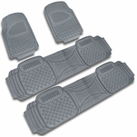 4-Pieces Grey Heavy Duty All Weather PVC 3D Rubber Floor Mats [Front + Rear]