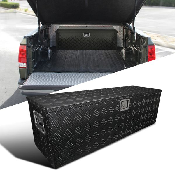"49"" Heavy Duty Black Textured Aluminum Tool Box Trailer Storage Trunk Under Bed"