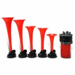 "5 Trumpet Tuned ""La Cucaracha"" Musical 12V S Air Horn Kit + Compressor + Hose"