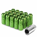 50mm Aluminum M12x1.25 6-Point 20mm OD Closed End Green 20 Lug Nuts Set+Adapter