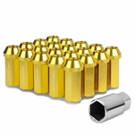 50mm Aluminum M12x1.25 6-Point 25mm OD Closed End Gold 20 Lug Nuts Set+Adapter