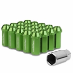 50mm Aluminum M12x1.25 6-Point 25mm OD Closed End Green 20 Lug Nuts Set+Adapter