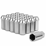 50mm Aluminum M12x1.25 6-Point 25mm OD Closed End Silver 20 Lug Nuts Set+Adapter
