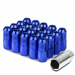 50mm Aluminum M12x1.5 6-Point 20mm OD Closed End Blue 20 Lug Nuts Set+Adapter