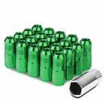 50mm Aluminum M12x1.5 6-Point 20mm OD Closed End Green 20 Lug Nuts Set+Adapter