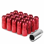50mm Aluminum M12x1.5 6-Point 20mm OD Closed End Red 20 Lug Nuts Set+Adapter
