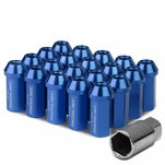 50mm Aluminum M12x1.5 6-Point 25mm OD Closed End Blue 20 Lug Nuts Set+Adapter