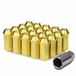 50mm Aluminum M12x1.5 6-Point 25mm OD Closed End Gold 20 Lug Nuts Set+Adapter