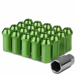 50mm Aluminum M12x1.5 6-Point 25mm OD Closed End Green 20 Lug Nuts Set+Adapter